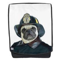 Fireman pug dog boldface backpack