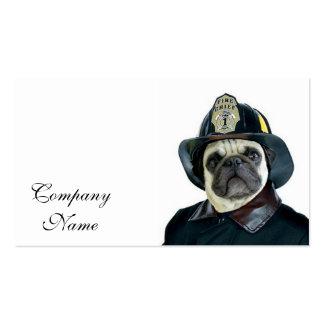 Fireman pug dog business card