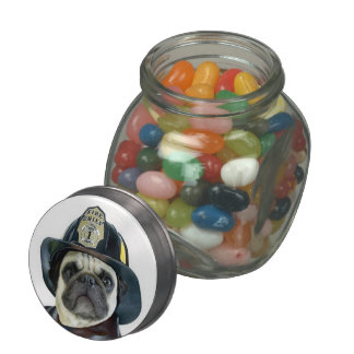 Fireman pug dog jelly belly candy jar