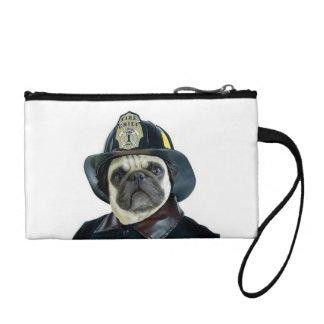 Fireman pug dog change purse