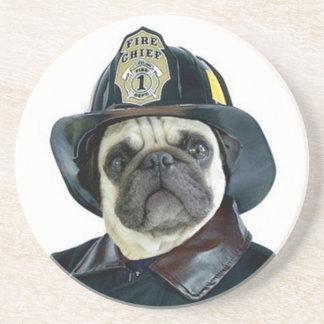 Fireman pug dog coaster