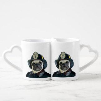 Fireman pug dog coffee mug set
