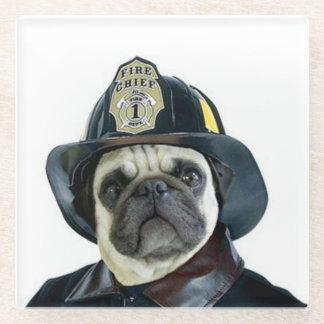 Fireman Pug Dog Glass Coaster