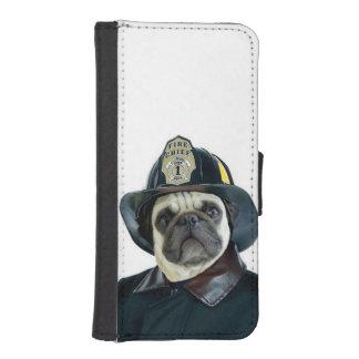 Fireman pug dog iPhone SE/5/5s wallet case