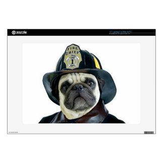 Fireman Pug dog laptop skin