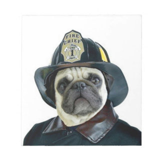 Fireman pug dog notepad