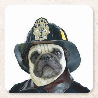 Fireman Pug Dog Square Paper Coaster