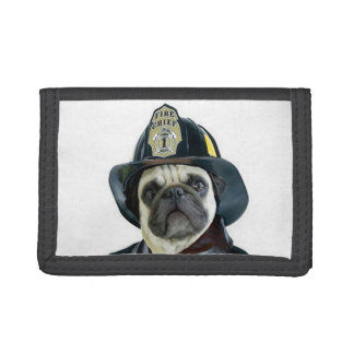 Fireman pug dog tri-fold wallet