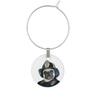 Fireman pug dog wine charm