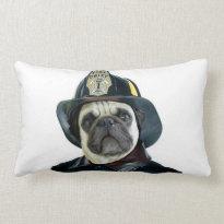Fireman pug pillow