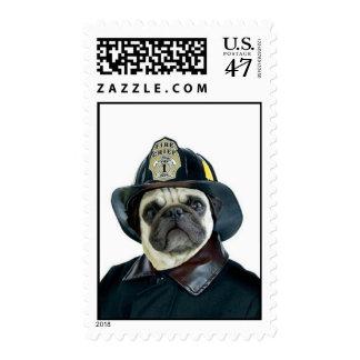 Fireman pug postage
