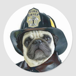Fireman Pug stickers