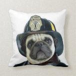 Fireman pug throw pillow