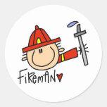Fireman Round Stickers