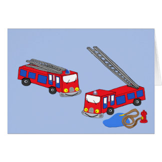 Fireman's Red Fire Trucks Greeting Cards