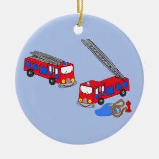 Fireman's Red Fire Trucks Ceramic Ornament