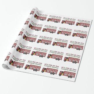 Fireman Santa Holiday wrapping paper