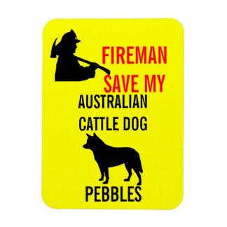 Fireman Save My Australian Cattle Dog Magnet
