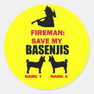 Fireman Save My Basenjis Round Sticker