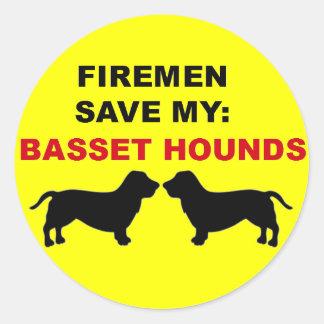 Fireman Save My Basset Hounds Round Sticker