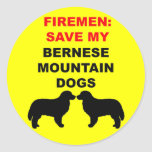 Fireman Save My Bernese Mountain Dogs Sticker