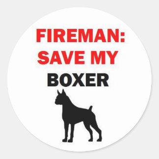 Fireman Save My Boxer Classic Round Sticker