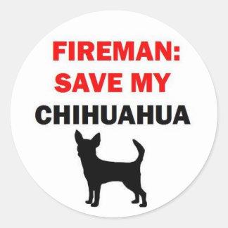 Fireman Save My Chihuahua Classic Round Sticker