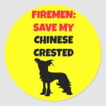 Fireman Save My Chinese Crested Stickers