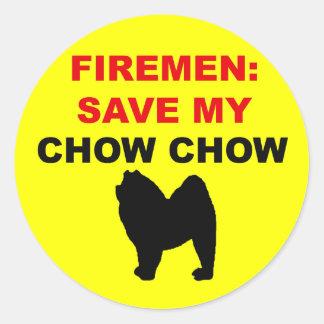Fireman Save My Chow Chow Round Sticker