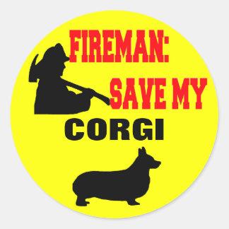 Fireman Save My Corgi Classic Round Sticker