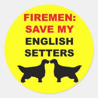 Fireman Save My English Setters Classic Round Sticker