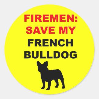 Fireman Save My French Bulldog Classic Round Sticker