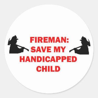 Fireman Save My Handicapped Child Classic Round Sticker