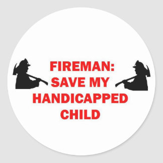 Fireman Save My Handicapped Child Sticker