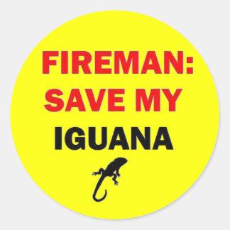 Fireman Save My Iguana Sticker