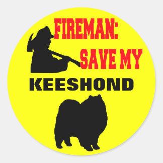 Fireman Save My Keeshond Classic Round Sticker