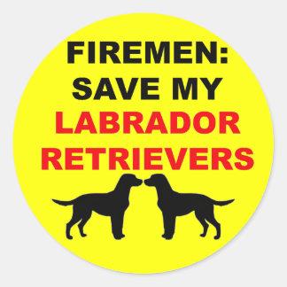 Fireman Save My Labrador Retrievers Classic Round Sticker