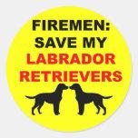 Fireman Save My Labrador Retrievers Stickers