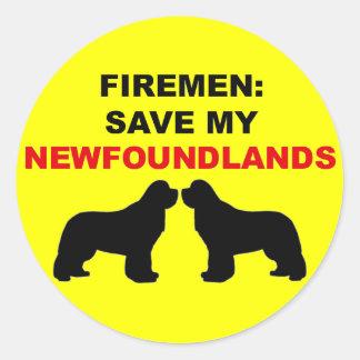 Fireman Save My Newfoundlands Classic Round Sticker