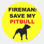 Fireman Save My Pitbull Stickers