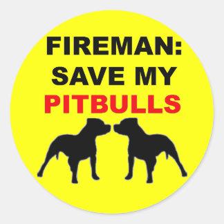 Fireman Save My Pitbulls Classic Round Sticker