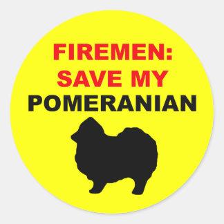 Fireman Save My Pomeranian Classic Round Sticker