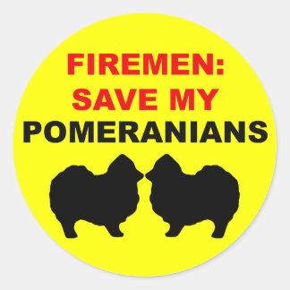 Fireman Save My Pomeranians Classic Round Sticker