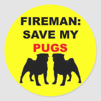 Fireman Save My Pugs Classic Round Sticker