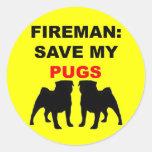 Fireman Save My Pugs Round Stickers