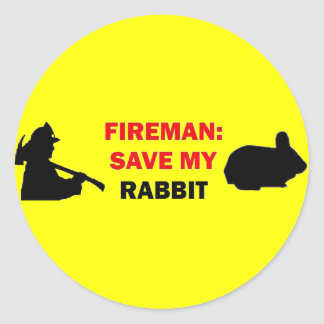 Fireman Save My Rabbit Round Stickers