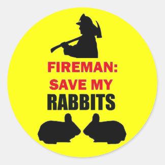 Fireman Save My Rabbits Classic Round Sticker