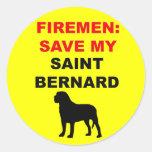 Fireman Save My Saint Bernard Classic Round Sticker