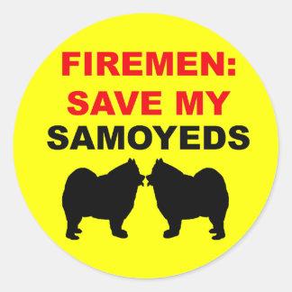 Fireman Save My Samoyeds Classic Round Sticker