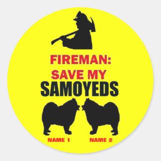 Fireman Save My Samoyeds Stickers